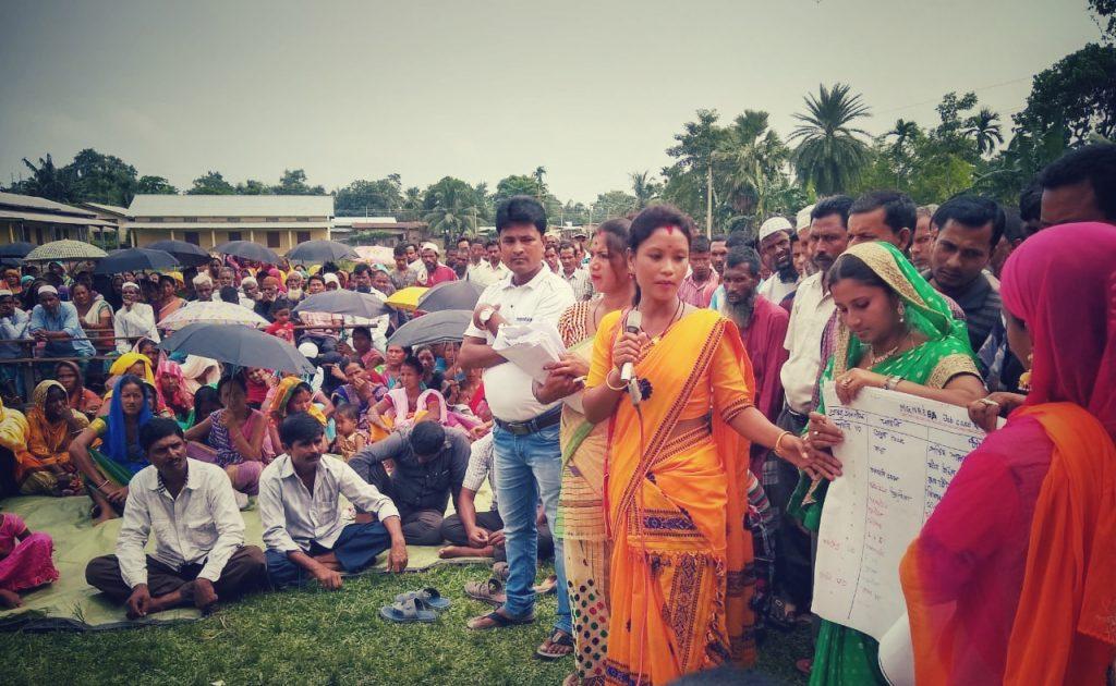 Women presenting Gram Panchayat Development Plan