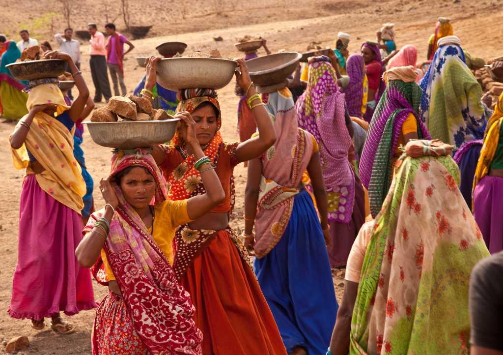 Women workers walking