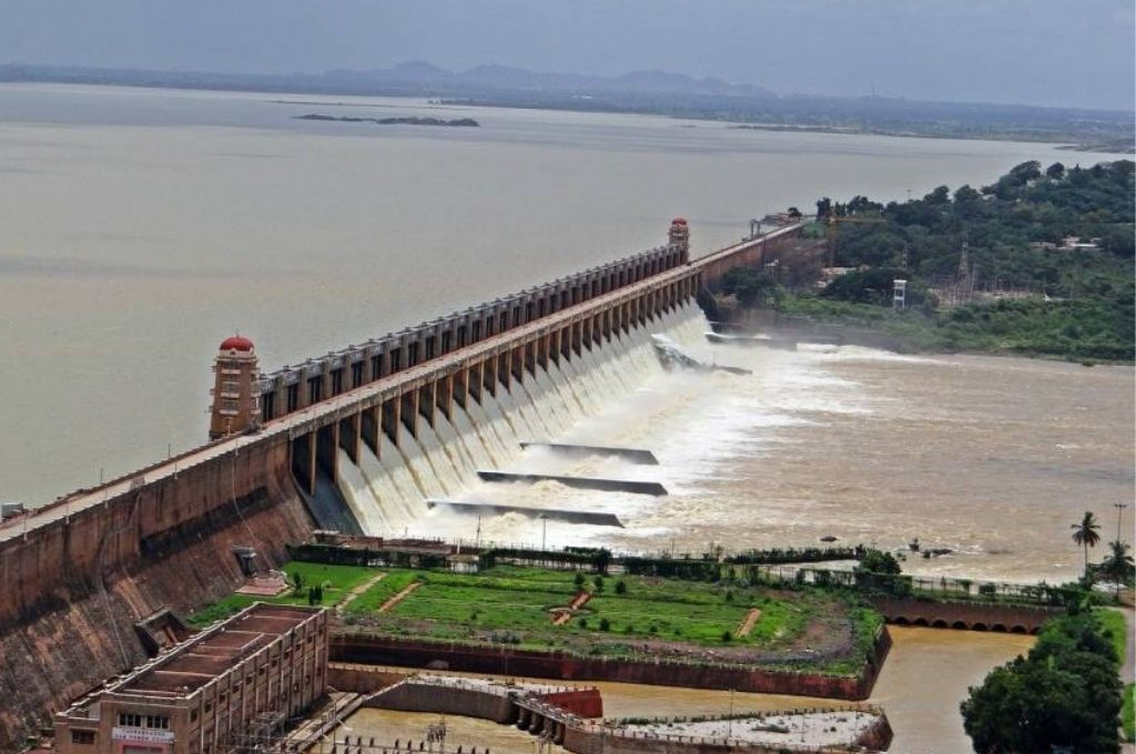Aerial shot of Tungabhadra dam in karnataka