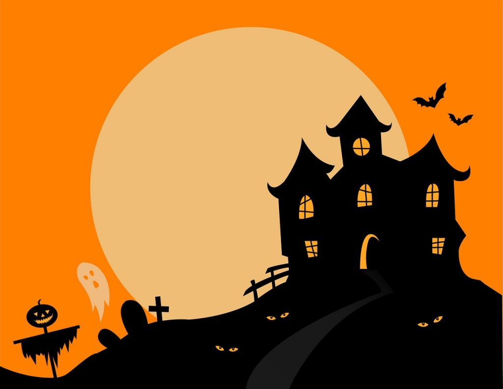 A graphic image of a haunted house