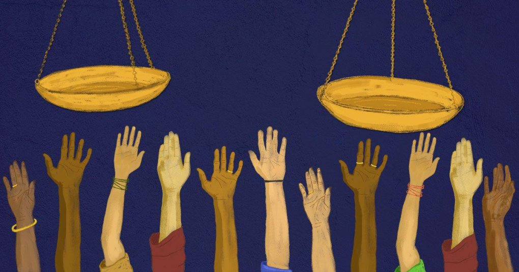 illustration-hands reaching out to the scales of justice-justice