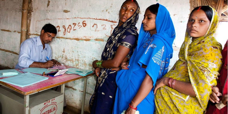 pregnant women at a clinic in rural India