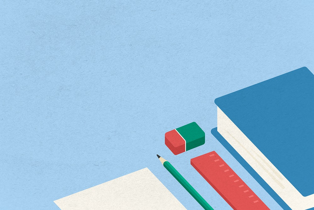 illustration of paper, notebook, and a pencil on a blue background-NEP 2020
