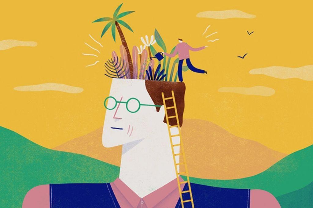 Abstract illustration of a man nurturing plants growing out of his head