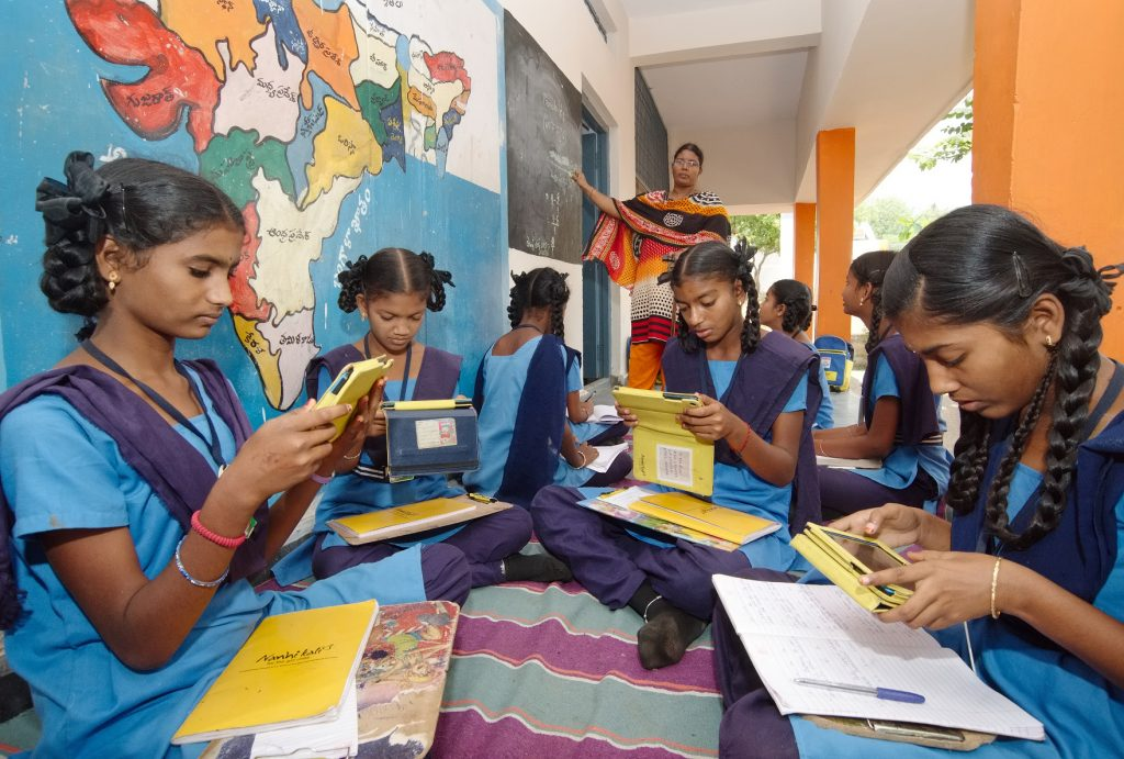 Teenage girls in school uniform in India