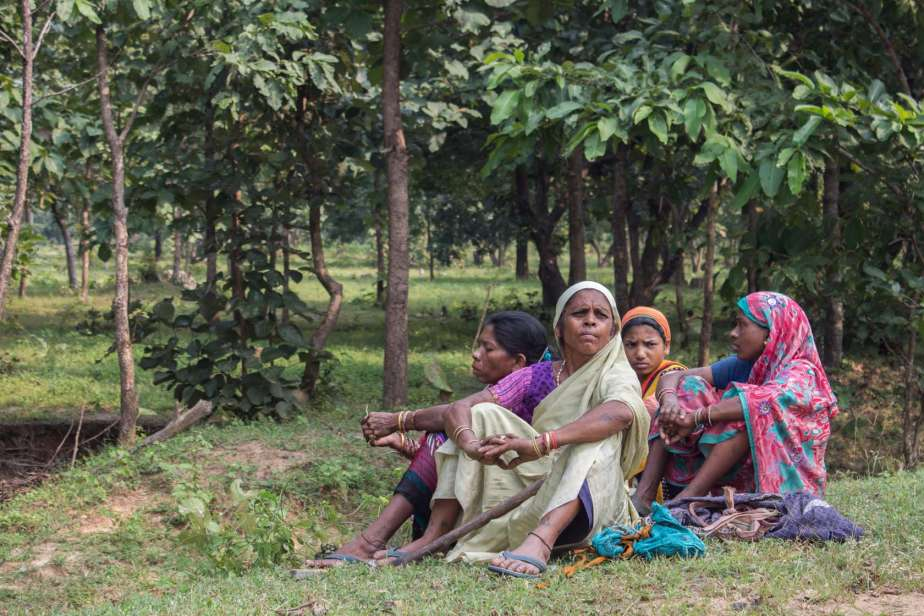 women sitting at the edge of a teak plantation-tribal