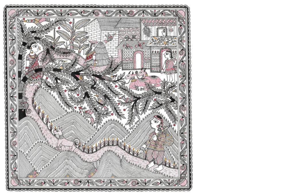 Madhubani art scene depicting Kanjariguda, Odisha-self-help group
