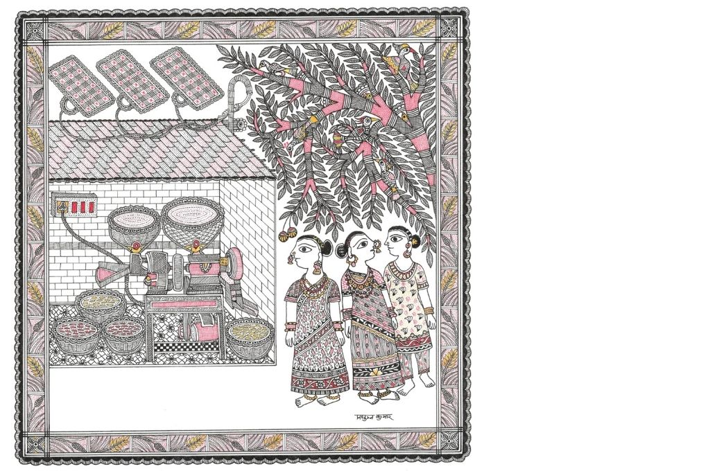 Madhubani art scene depicting a rice mill and women-self-help group