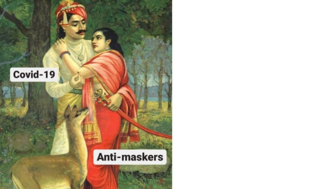 A man embracing a woman with a deer next to them. Man being covid-19, woman-anti-maskers-lockdown