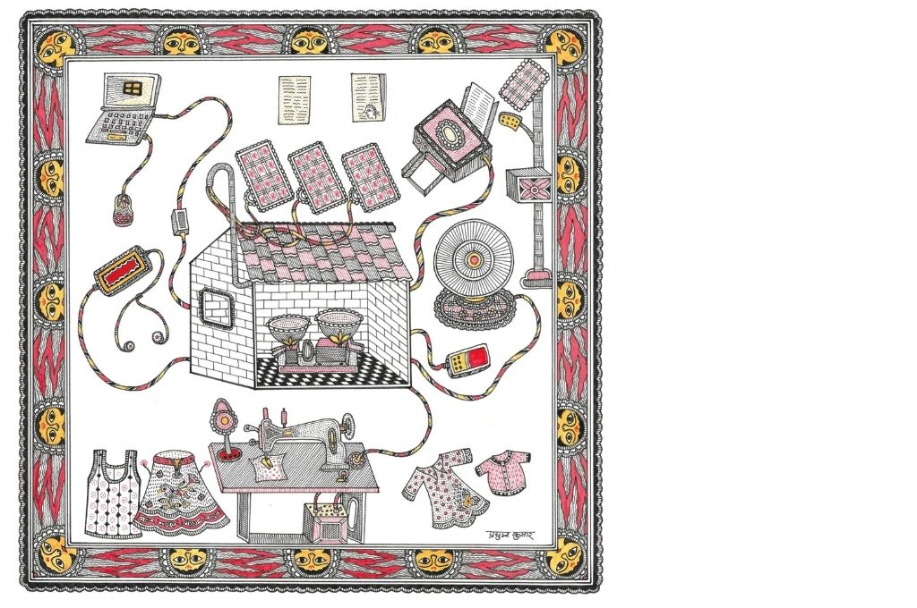 Madhubani art scene depicting various gadgets being powered by the rice mill-self-help group