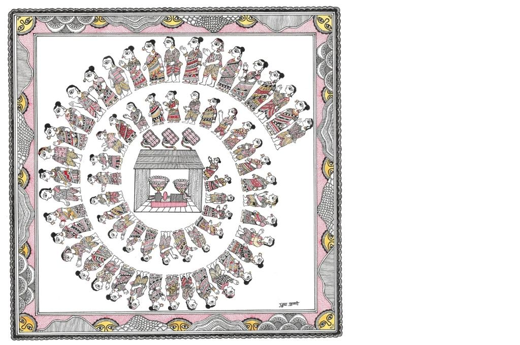 Madhubani art scene showing many people coming to the rice mill-self-help group