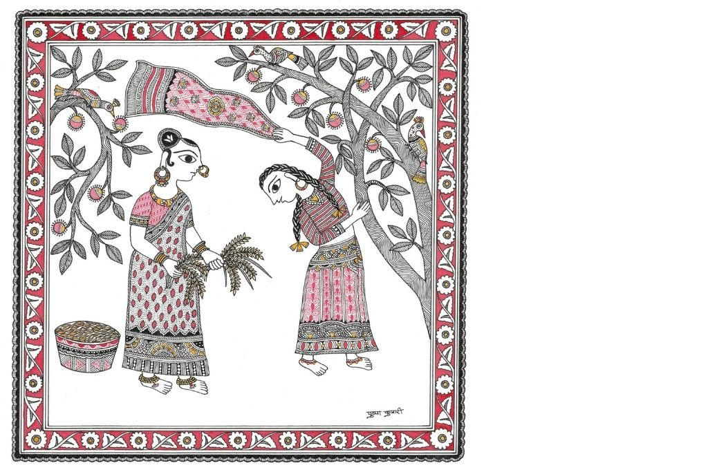 Madhubani art scene showing women self-help group and ragi
