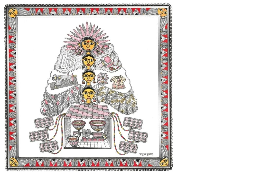 Madhubani art scene showing a tree growing from a rice mill-self-help group