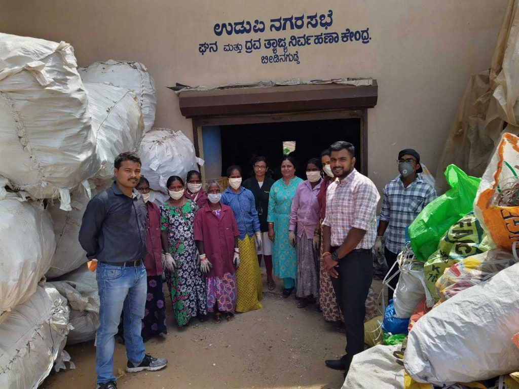 Members of a self-help group at their waste management facility in Udupi, Karnataka