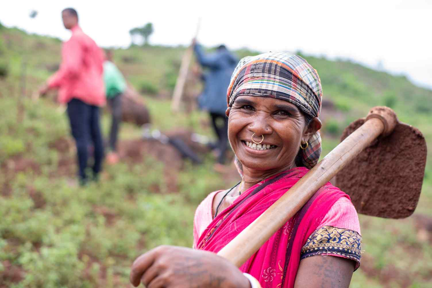 close up of a woman farmer in Odisha-farmer producer organisations