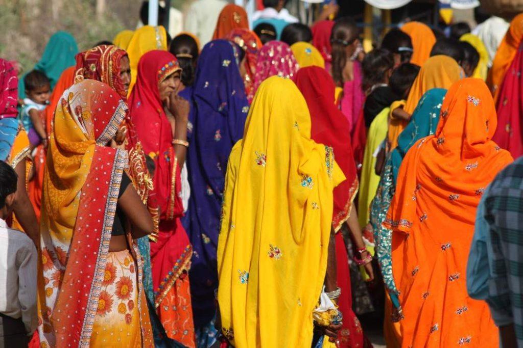 saree clad women congregating_Pixabay_gender budgets