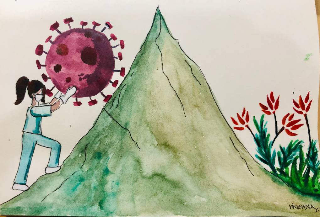 A healthworker pushes coronavirus up a hill-COVID-19 latest social sector