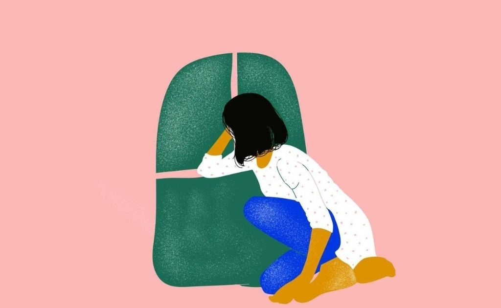 Ilustration of a person sitting down with a green block in the back-loneliness-shreya gupta