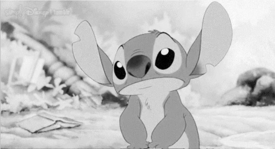black and white image of stitch with ears up-social sector