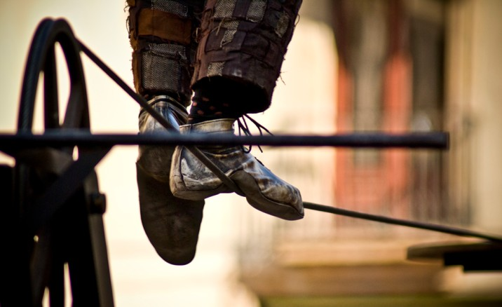 close up of a person walking on a tightrope-nonprofit sector