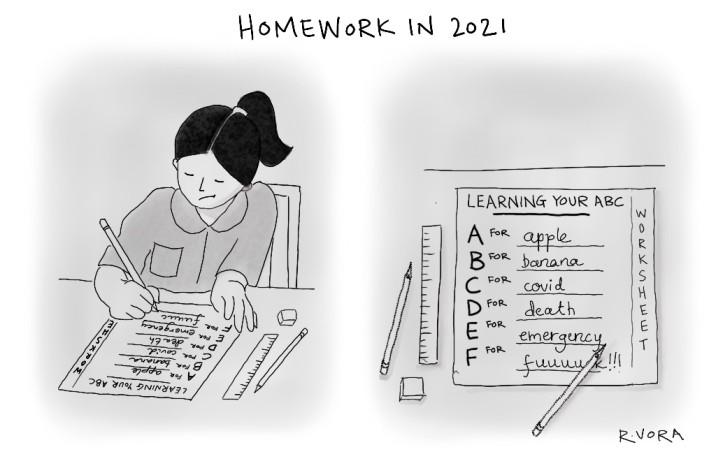 A cartoon of a student writing the alphabets-nonprofit life_cartoon courtesy-Rachita Vora