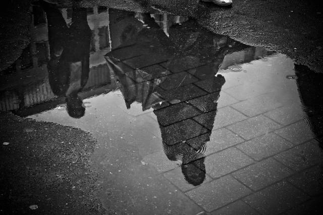 black and white image of a person reflected in a puddle-social change fellowship