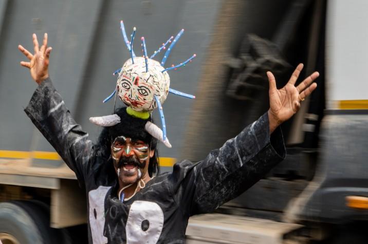 Sree Ramuli as the Corona demon raises COVID-19 awareness