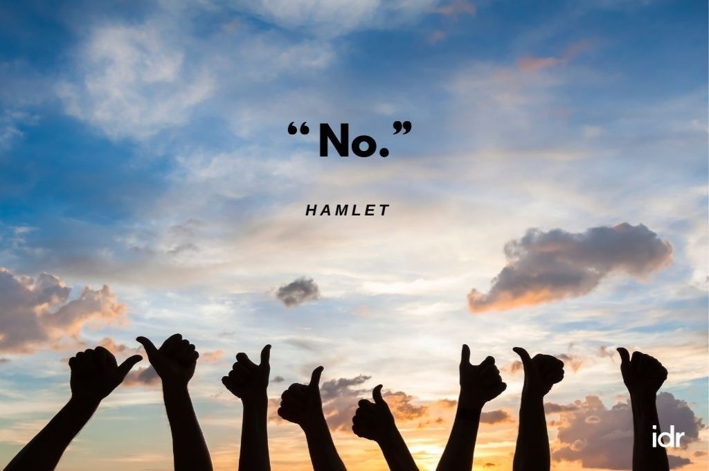 """Backdrop of hands showing a thumbs up against a sky with clouds. In quotes, No. Hamlet""""-donor"""