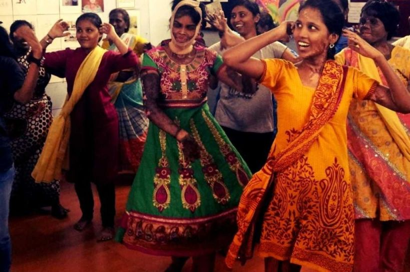 Burn survivors of domestic violence engaging in group activities-picture courtesy: Jayanthi Damodaran/PCVC