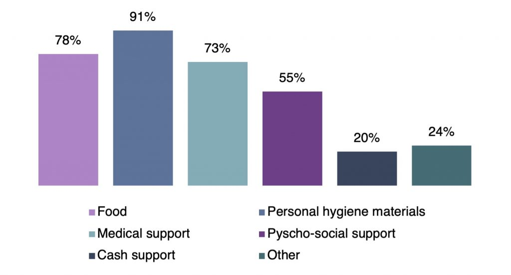 bar graph indicating the types of support provided by civil society organisations-civil society organisations
