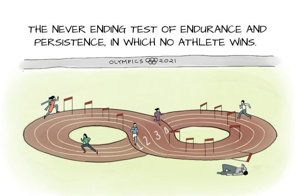 An Olympic 2021 hurdle event in which the running track is an infinite loop in which people are running. The hurdles, from left to right are running out of money, unending feeling of doom, begging funders for overheards, sense of purpose vs crippling self-doublt, quantifying impact every quarter, running out of money, structural inequality, keeping up with compliance, and donor reporting 24/7. The hurdle on the far right, labelled CSR committees, seems to have fallen down. On the far right, one exhausted man lies outside the ring on the floor-nonprofit life