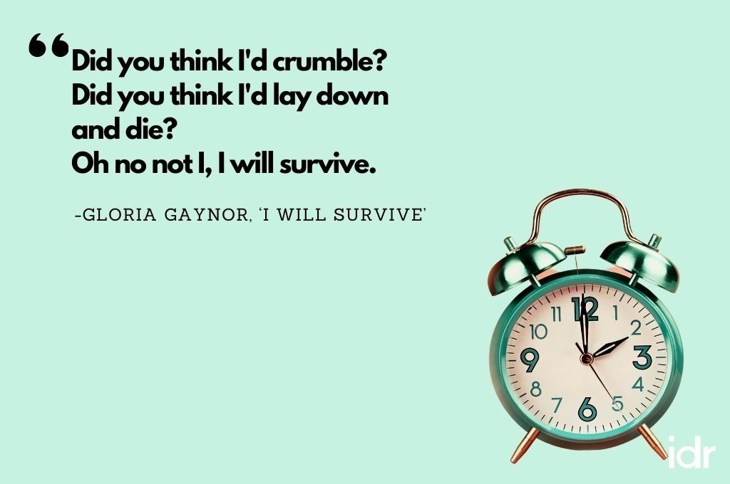 """The background of the image is blue and there is a clock on the right hand corner of the image. The quote on the image says, """"Did you think I'd crumble? Did you think I'd lay down and die? Oh no not I, I will survive. By Gloria Gaynor, 'I will survive'-workweek playlist"""