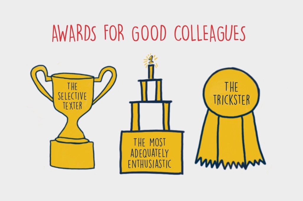 Awards for good colleagues-three trophies next to each other