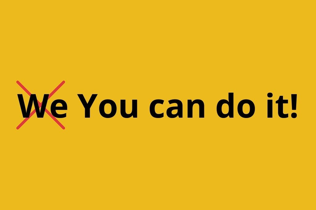 We (crossed out) you can do it is in quotes on a yellow (specifically, mustard)-government partners