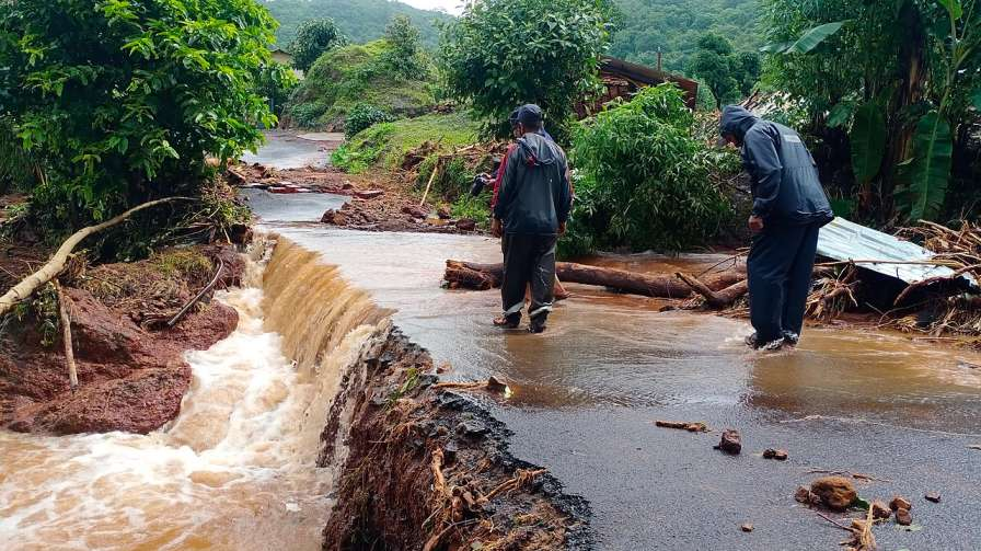Destroyed roads during floods-climate change india