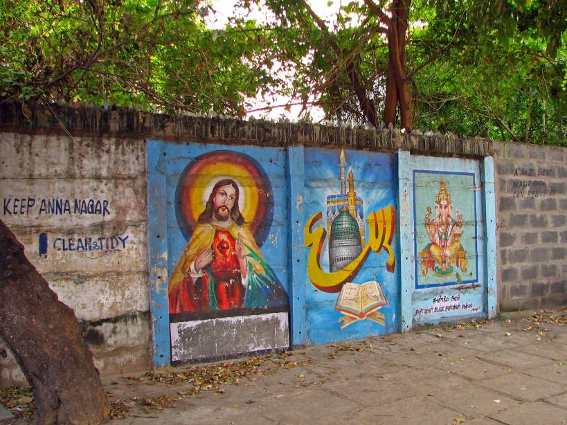 wall painting representing christianity, islam, and hinduism