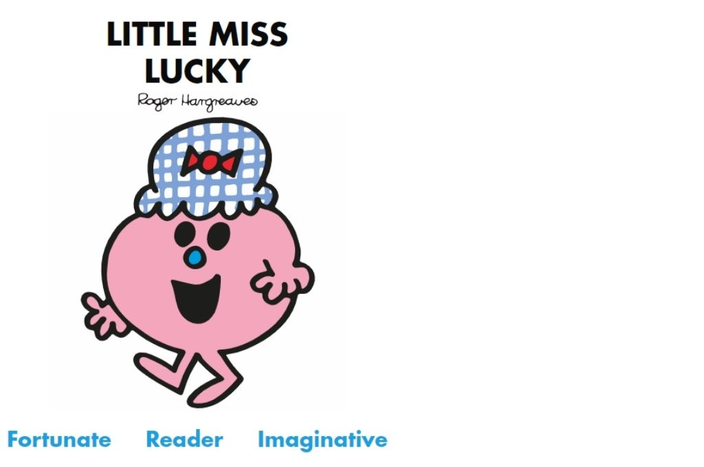 a pink cartoon with a blue and red hat with a smile on her face. Fortunate, reader, imaginative-Mr Men and Little Miss