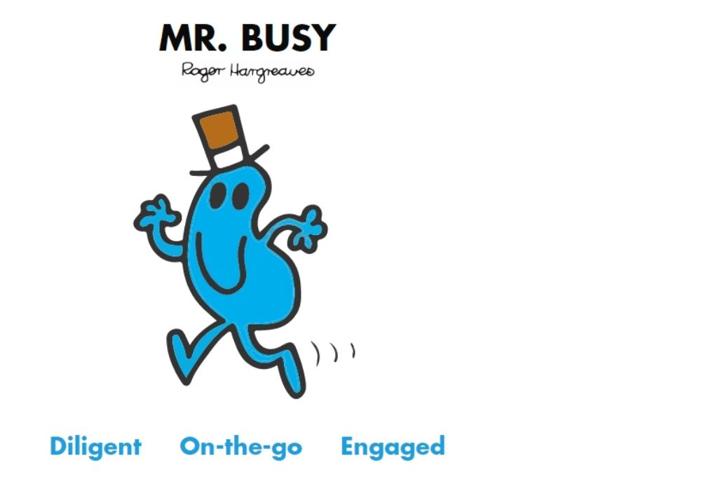 a blue color cartoon wearing a brown hat who is in mid run. Diligent, on-the-go, engaged-Mr Men and Little Miss