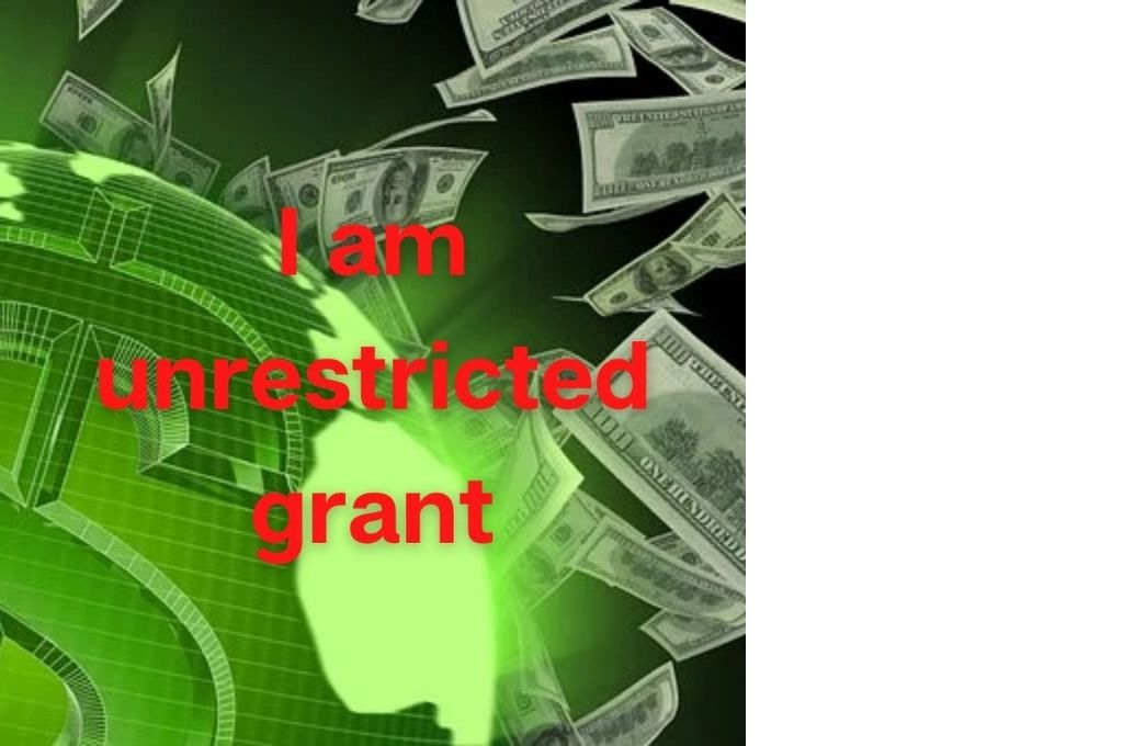 us dollars against a green background with the text 'i am unrestricted grant'-affimations