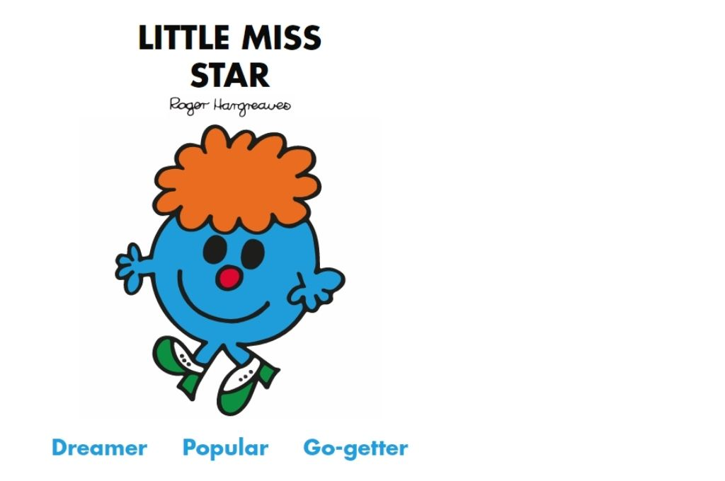a blue cartoon, with orange hair, wearing green shoes, with a smile on their face. Dreamer, popular, go-getter-Mr Men and Little Miss