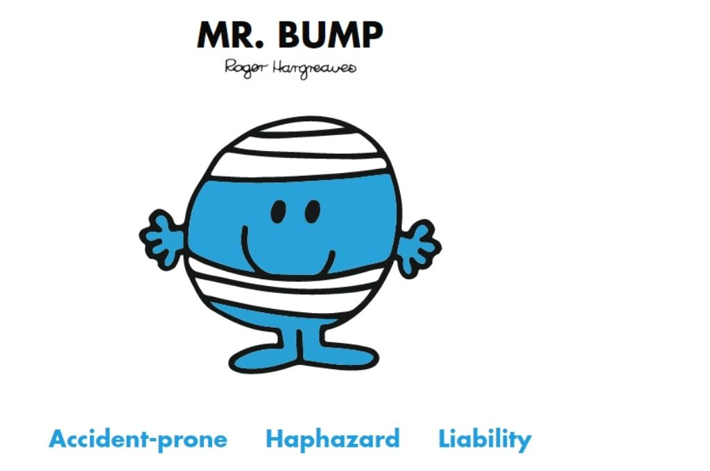 a blue colour cartoon who is wrapped in bandages and has his hands out. Accident-prone, haphazard, liability-Mr Men and Little Miss