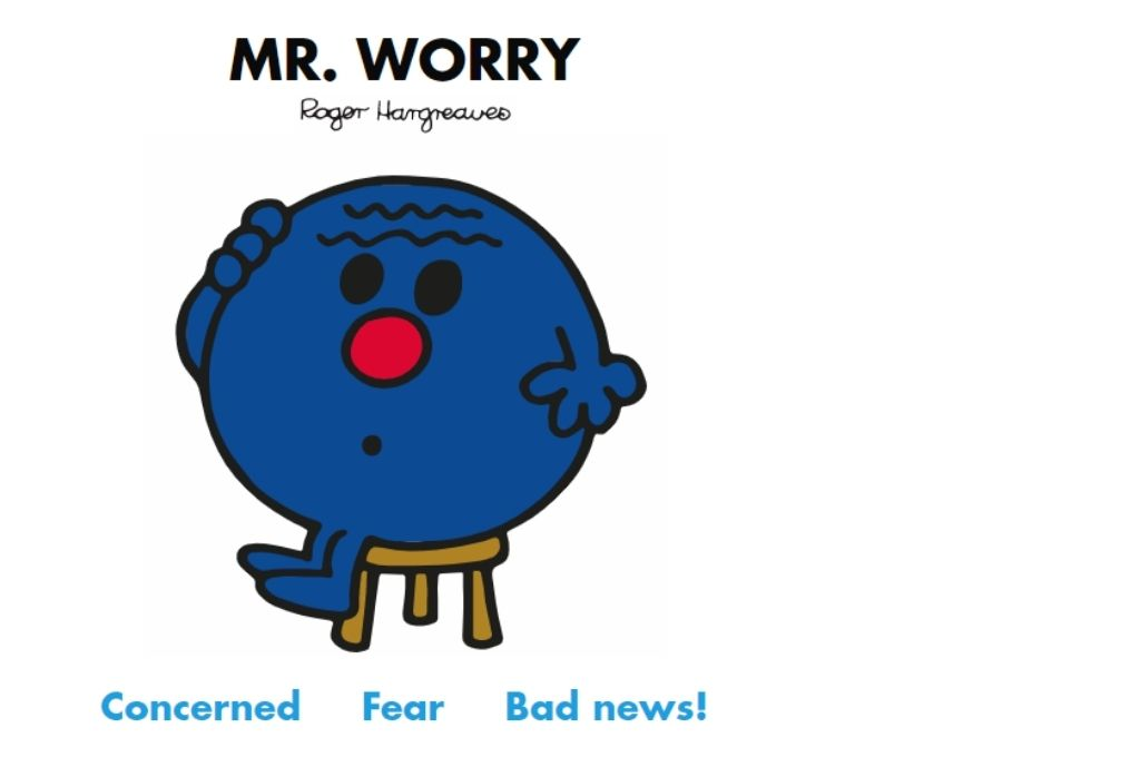 a dark blue cartoon sitting on a stool scratching their head in a look of worry. Concerned, dear, bad news!-Mr Men and Little Miss