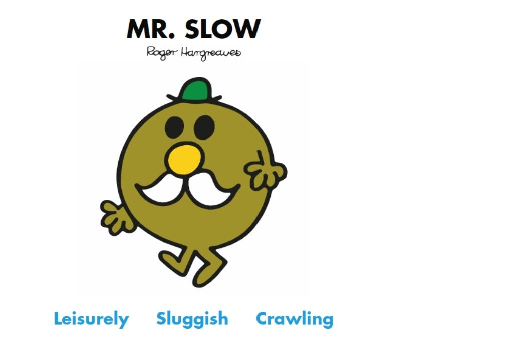 an elderly olive cartoon with a white mustache and a green hat. Leisurely, sluggish, crawling-Mr Men and Little Miss