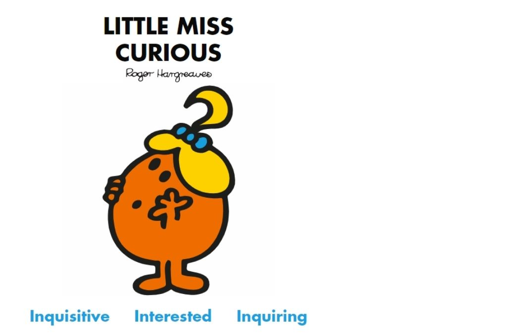an orange cartoon wearing a ponytail with a looking up in curiosity. Inquisitive, interested, inquiring-Mr Men and Little Miss