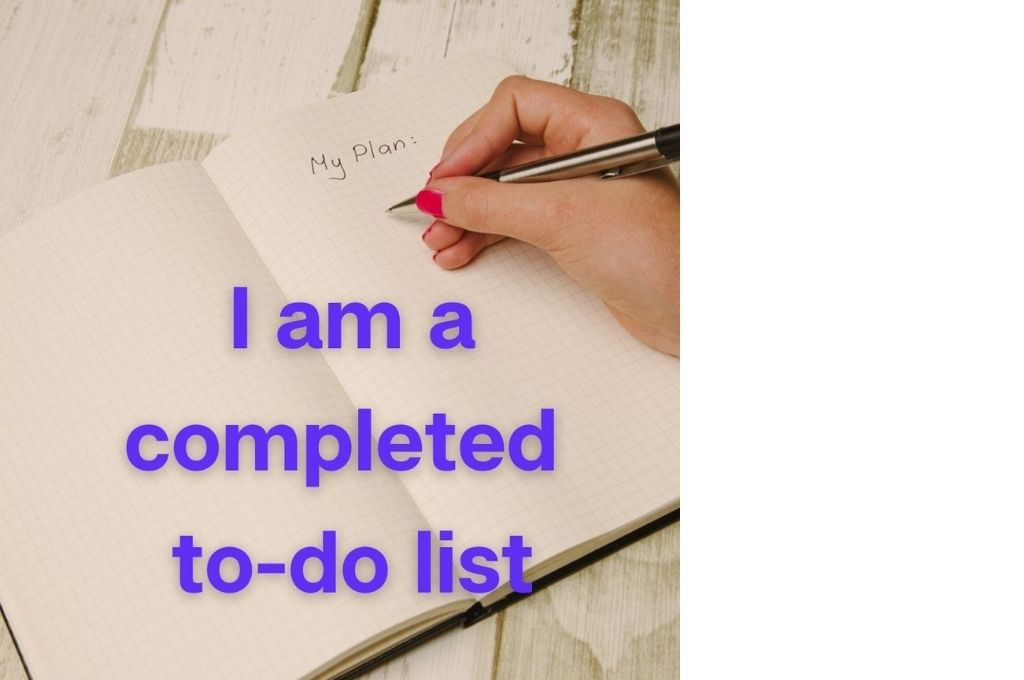 blank to-do list with the text 'i am a completed to-do list' in purple-affirmations