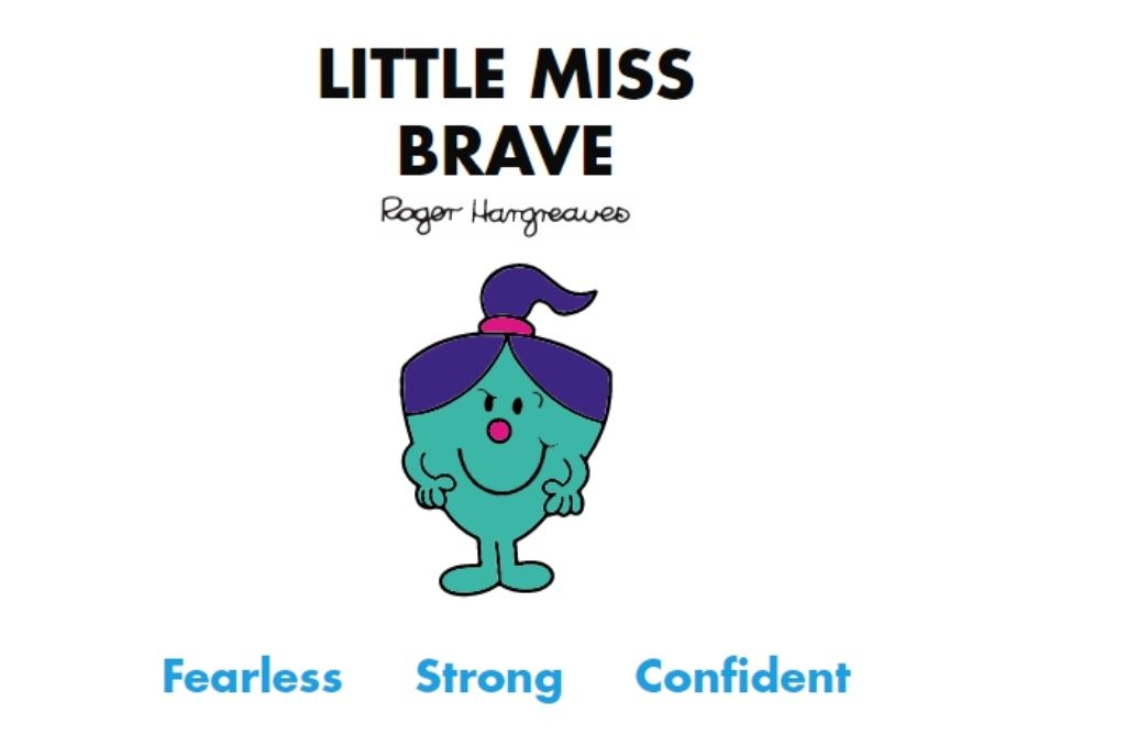 a blue-green colour cartoon wearing a ponytail and smile and look of determination. Fearless, strong, confident-Mr Men and Little Miss