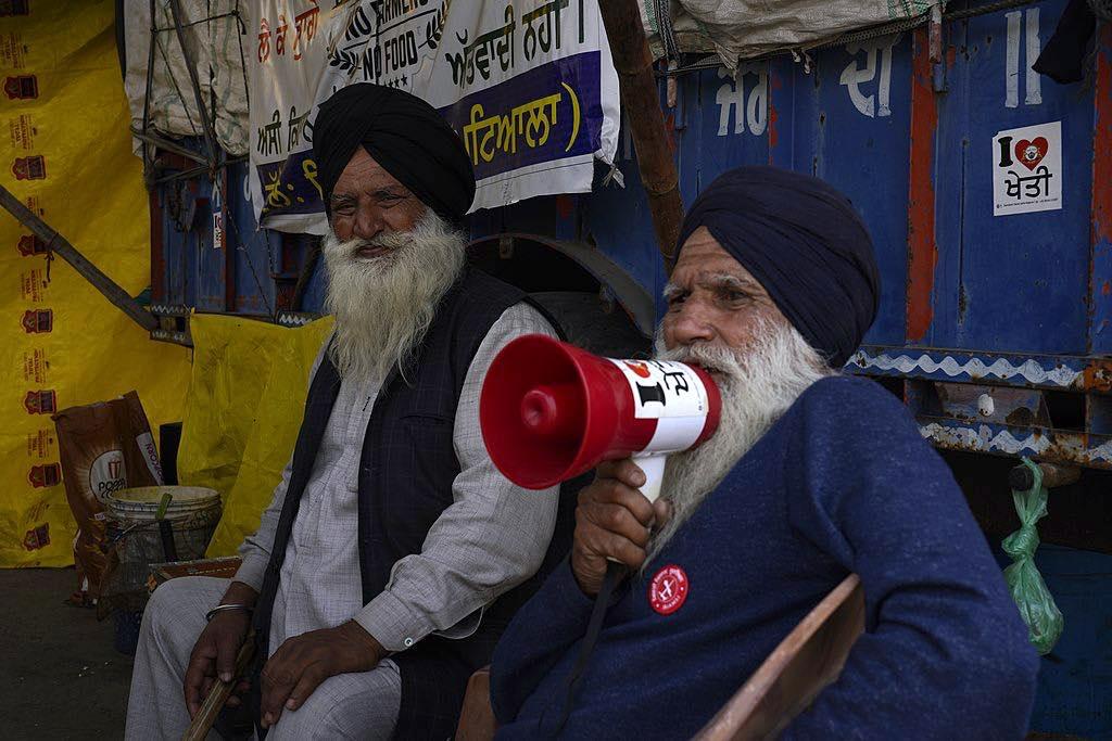 Farmer protests at Singhu border